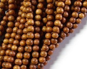 Wood Bead, Round 5mm, Bayong - 16 Inch Strand (WDRD-05BY)