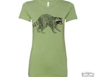 Womens Urban RACCOON T Shirt -hand screen printed s m l xl xxl (+ Colors Available) custom