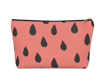 Watermelon Black Seeds Cosmetic Bag  Seed Make Up Bag  Watermelon Fruit Pattern Carry All Pouch