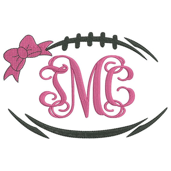 Bow Football Laces Monogram Frame Embroidery Design Instant
