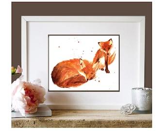 Aquarelle dessin de renard, art mural