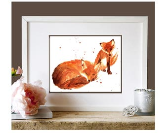 WATERCOLOR Fox Print, kids wall art