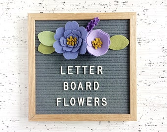 Felt Letter Board Flowers - Add-ons for Felt Letter Board - Decor for Photo Props, Parties, Showers and Every Day - Periwinkle / Lavender
