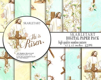 Easter Paper Pack, Jesus Paper, Resurrection,Printable Easter, Christian Cross, The Holy Bible,Spring Peony, Religious planner supplies DIY
