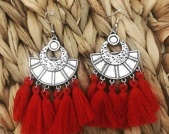 SABAH red ethnic earrings