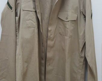 Vintage Military Issued Dress Shirt with Private Patches