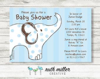Blue Elephant Baby Shower Invitation, Printable, Digital File