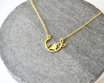 Bird Necklace, Layering Necklace, Delicate Gold Necklace, Bird Necklace gold, Delicate Necklace, Dainty Necklace, Gold Filled Necklace.