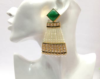 Handmade Earrings with Pearl Imitation Indian Wedding jewelry Pakistani Bollywood Jewelry Earrings indian jewellery