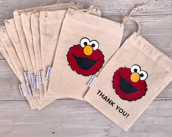 Elmo inspired party favors and shoe bags, thank you bags (5 pack) Elmo celebration, Sesame Street Birthday Party, Birthday boy or girl