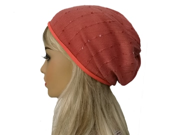 Women's slouchy hat, Slouch beanie woman, Cotton beanie hat, Trendy slouch hat, Coral slouchy beanie, Womens trendy beanie, Boho slouchy hat