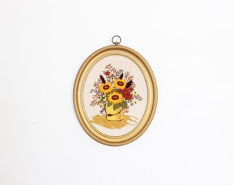 SALE Vintage Crewel of Flower Bouquet Large Floral Crewel Needlpoint Cross Stitch Art Large Framed Artwork