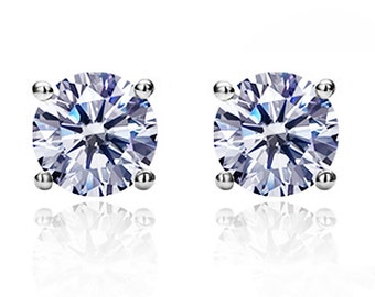 Women Sterling Silver 7mm Round CZ Casting Prong Setting Stud Earrings, White(SNECZ41007-CLEAR)