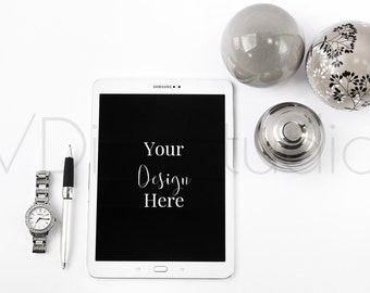 Tablet Style Stock|Desk Style Stock|White and Silver Stock Image|Product Photography|VDieuStudio#31
