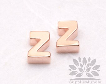 """IP002-GRG-Z// Glossy Rose Gold Plated Simple Initial """"Z"""" Pendant, 2 pcs"""