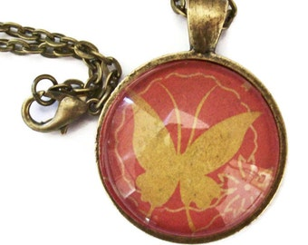 Golden Butterfly Necklace, Art Pendant, Red and Gold Necklace, Gift for Her, Bronzed