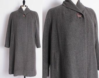 1950s 50s Gray 100% Cashmere Coat/Einiger cashmere coat/vintage swing coat/duster coat