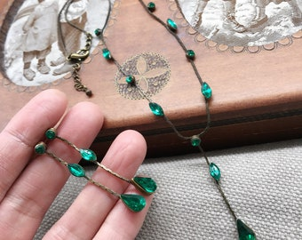Vintage emerald crystal antiqued brass chain necklace stud earring jewelery set for party,prom wedding occasions