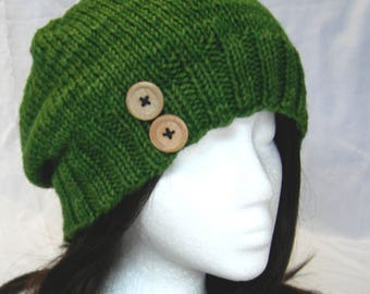 Eimear Green Slouch hat beanie hand knit merino button hat
