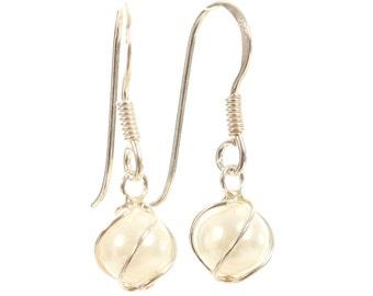 Freshwater pearl earrings  pearl drop earrings 925 sterling silver