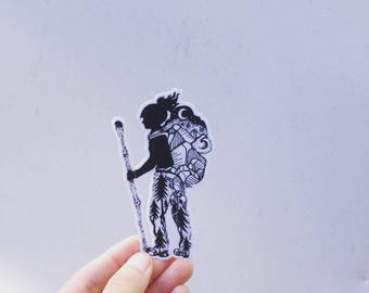 "Hiker Girl 4"" Weatherproof and durable, Outdoor sticker, Travel sticker, Wanderlust, Galaxy, Moon sticker, Collectible  stickers"
