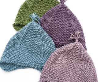 Baby Earflap Hat, 0-6 months, Merino Wool Hat, Tiny Tassel Hat, Baby Gift, Knitted Baby Hat, Baby Bonnet, Newborn Gift, Newborn Hat, Beanie