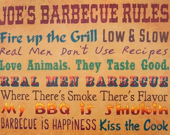 Barbecue sign, grilling rules, hand painted, BBQ barbeque