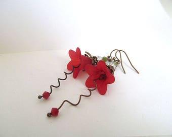Red Flower Earrings, Vintage Inspired Dangles, Red Poppies, Botanical Jewelry, Wild Flower, FTD Awareness
