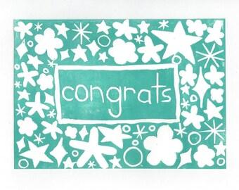 Congrats Greeting Card Handmade SUPPORTS CHARITY 5x7 Linocut Artwork