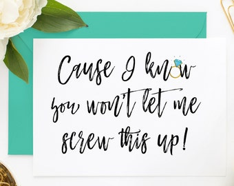 Funny Bridesmaid Card, Maid of Honor Proposal, Will You Be My, Asking Card, MOH, Matron of Honor