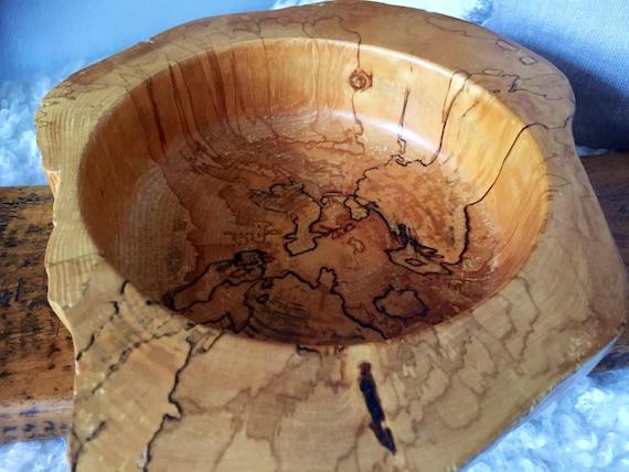 Spalted Birch Bowl/Swedish/hand turned /carved/rustic/wooden bowl/primitive/handcrafted/Scandinavian/irregular shape
