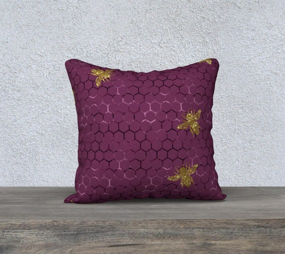 rasberry color bee hive with gold bees pillow case