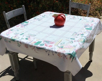 Vintage Startex Tablecloth Summer Picnic Fruits Veggies Salad Pie Retro Kitchen BBQ Barbecue Polka Dots