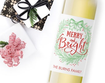 christmas wine label / custom wine label / holiday party favor / christmas gift ideas / merry and bright / hostess gift / WLH-14