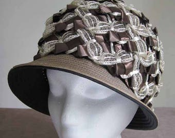 Mr. John 1960's High Crown Vintage Woven Brown and Cream Cloche Hat with Tan Brim 21 Inch