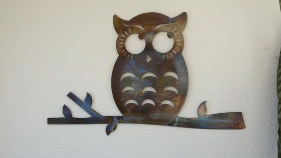 Attractive Thoughtful Owl Recycled Metal Wall Art Colored Patina