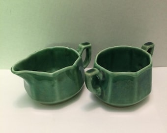 Vintage Green Ceramic Creamer and Double Handled Open Sugar