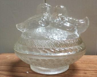 Glass 'Twin Bird' Design  Bowl  ,Storage Pot