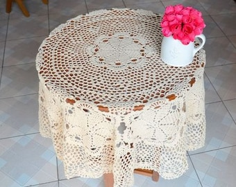 "American 39.5"" Round floral table cloth, Vintage style handmade table cover, hand crochet lace table topper for home decor"