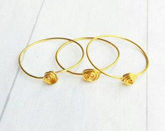 Gold Stack Ring - Bridesmaid Gift - Stack Ring - Ring Set - Rose Ring - Minimalist Jewelry - Simple Ring - Ring Bundle