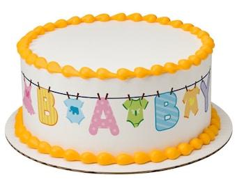 Baby Clothesline Edible Cake Side Image Strips