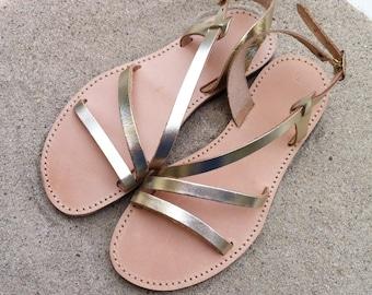 leather sandals, women shoes , gold sandals, wedding sandals, bridesmaids sandals