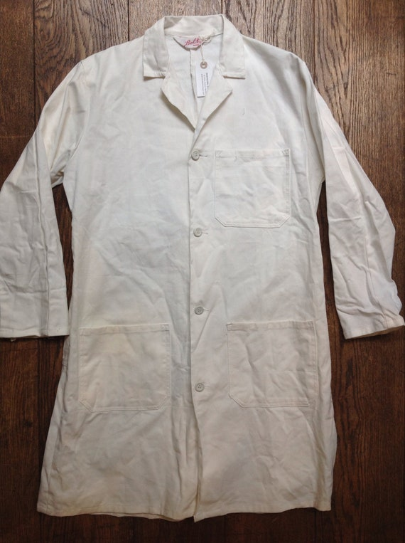 "Vintage white cotton overalls shop coat mechanics butchers workwear chore jacket coveralls 44"" chest"