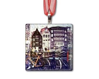 Amsterdam Bikes - Handmade Glass Photo Ornament