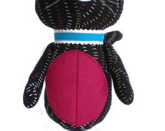Kitten Softie Kittie Cat Art Doll Black Yellow Red White with Dark Pink Accents and Blue Collar OOAK