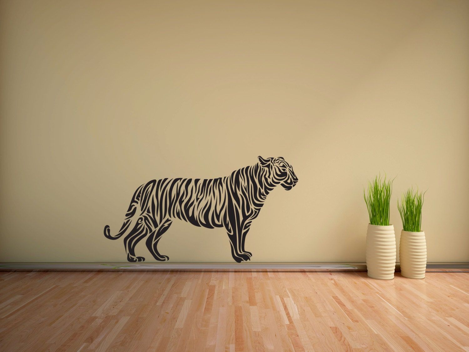Tiger Wall Vinyl Tribal Tiger Art Wild Cat Wall Decal Decor