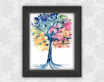 Colorful tree printable, tree decor, tree wall art, tree nursery, rainbow tree, watercolor tree, tree gift, blue tree, heart tree, nature