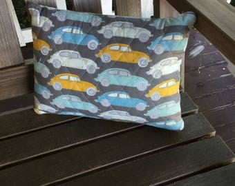Quilted VW Beetle Pillow, 15x12 inches