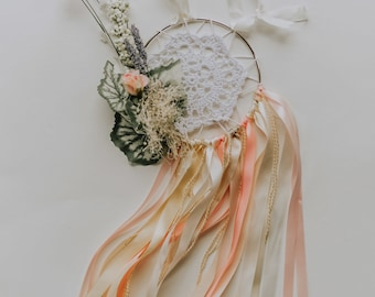 Light Pink and Beige Doily/Flower Dream Catcher
