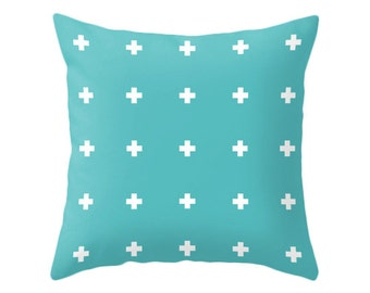Cross pillow cover. Teal pillow with white crosses pillow teal cushion teal pillow cross cushion cross throw pillow teal throw pillow